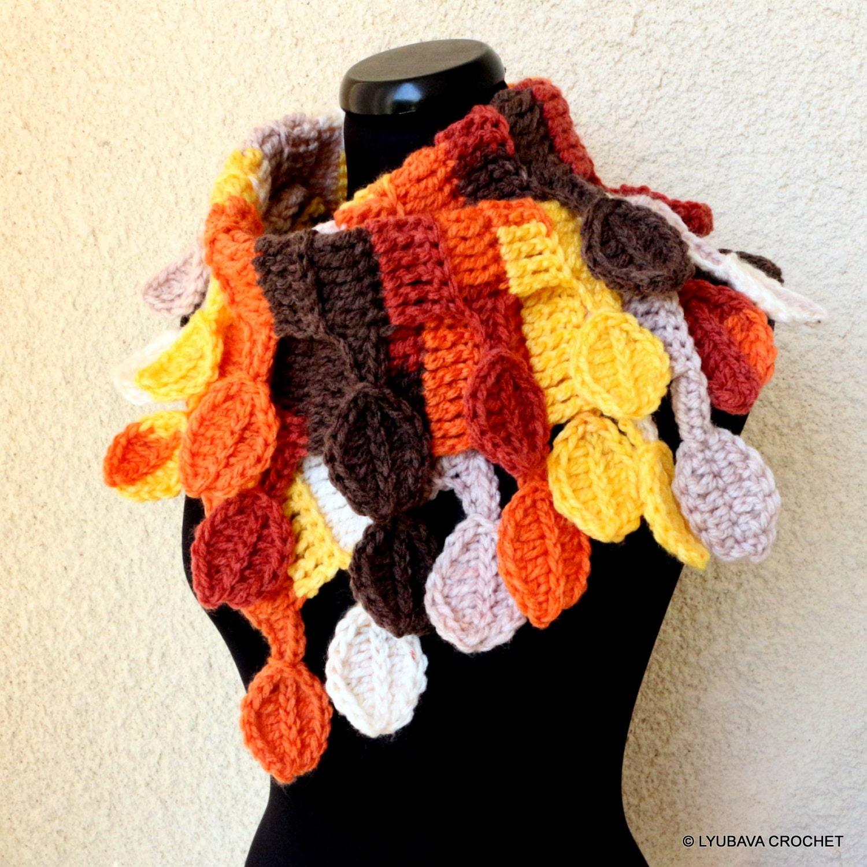 Crochet Scarf Pattern Autumn Leaves Scarf Diy Scarf Fall Etsy