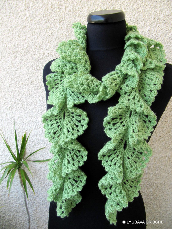 Crochet Scarf Pattern Ruffle Scarf Pattern Unique Scarf Etsy
