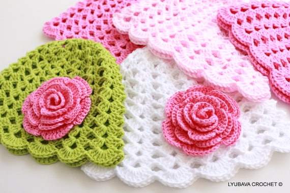 Crochet Pattern Baby Hat With Rose Flower Pattern Baby Girl Etsy