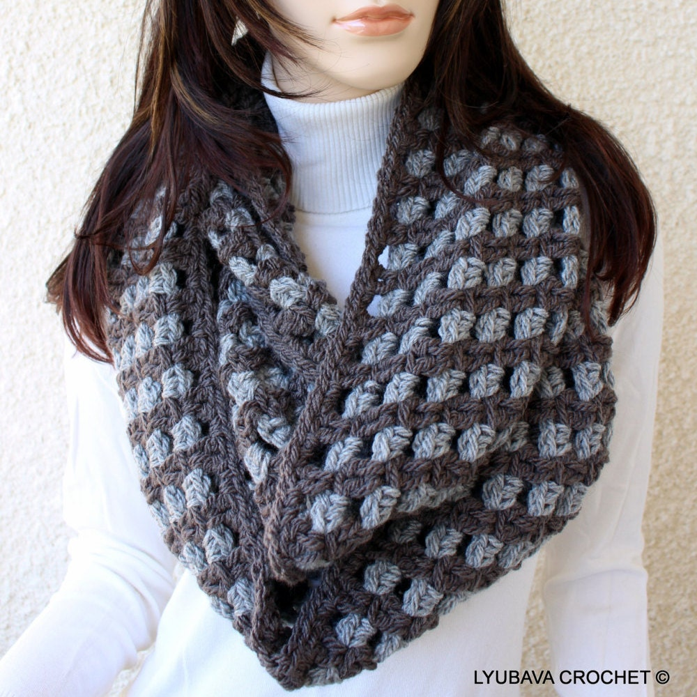 Crochet PATTERN Chunky Scarf Two Colors, Circle Scarf Easy Crochet ...