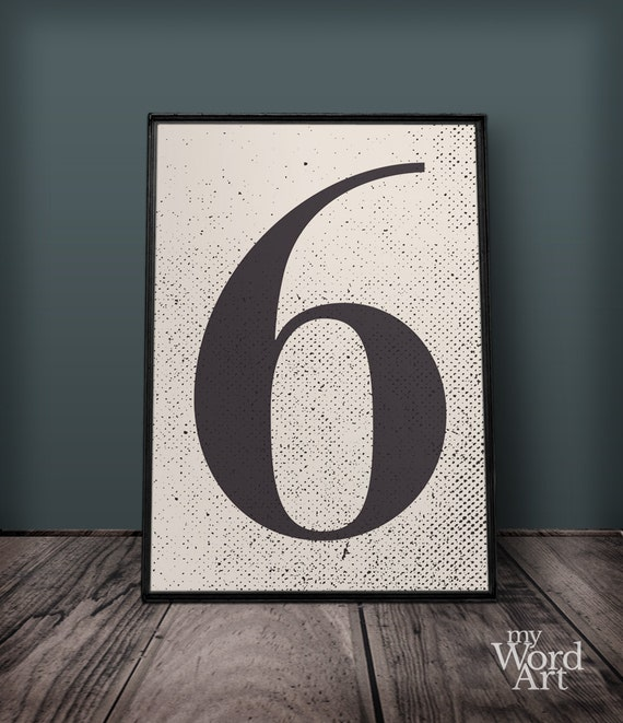 Number 6 Print Number Six Wall Art Number Wall Decor | Etsy