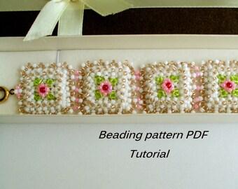 Beading pattern. Elegant beaded  bracelet - Baroque. Beading Tutorial. Beading pattern PDF. Instant download.