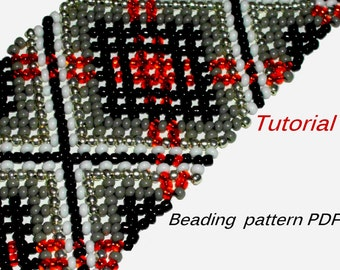 Beading Tutorial. Beading pattern PDF. Instant download. Huichol bracelet PDF