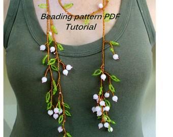Beading tutorial. Beading pattern. Lariat necklace - blossoming sprig. Beading Tutorial PDF. Beading pattern PDF. Instant download.