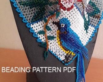 Beading Tutorial PDF. Beading pattern PDF. Necklace - kerchief «Bird». Beading step by step.