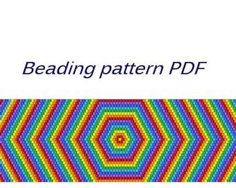 Beaded bracelet Rainbow. Beading Tutorial. Beading pattern PDF. Instant download.