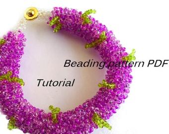 Beading pattern. Bracelet Lilac. Beading Tutorial. Beading pattern PDF. Instant download.