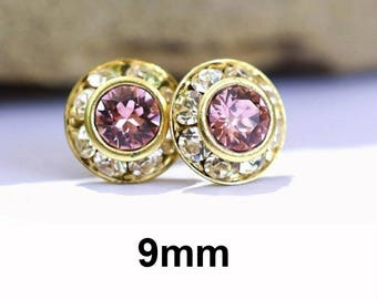 Light Rose Studs, Rose & Gold Earrings, Pink Halo Studs, 9mm Earrings, Crystal Stud Earrings, 9mm Pink Crystal Studs