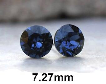 Montana Earrings, Blue Crystal Studs, 7.27mm Xirius Studs, Rhinestone Stud Earrings, Crystal Stud Earrings, Montana Crystal Earrings