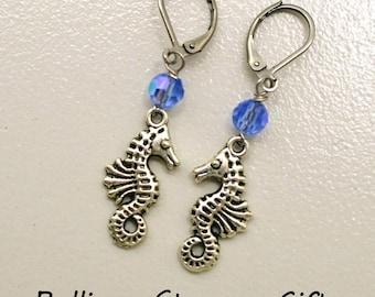 Seahorse Earrings, Blue Aurore Boreale, Aquatic Leverbacks, Crystal Bead Earrings, Leverback Earrings, Surgical Steel Leverbacks, Ocean Life