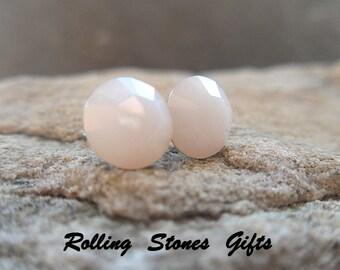 7.27mm White Alabaster Vintage Swarovski Round Rhinestone Stud Earrings-White Alabaster Crystal Studs-Small White Crystal Stud Earrings