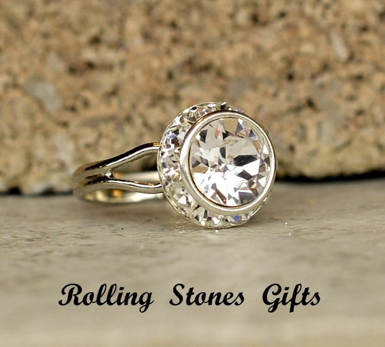 Crystal 12mm Xirius Rhinestone Adjustable Ring clearance sale