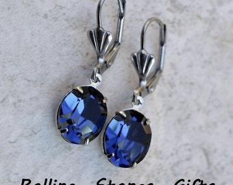 12x10mm Montana Blue Swarovski Oval Lever back Rhinestone Earrings- Crystal Dangle Rhinestone Earrings -Montana Blue