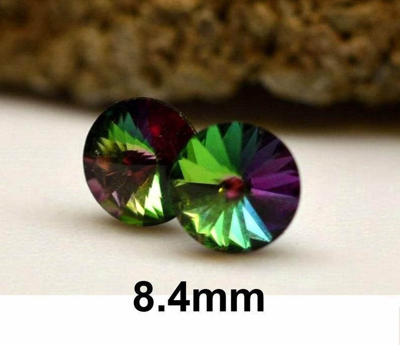 4af055486 Electra 8.4mm Rivoli Rhinestone Stud Earrings Rainbow Crystal | Etsy