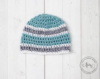 PDF Crochet Pattern - Basic Striped Beanie Sizes Preemie to 6-10 Years