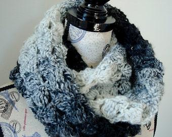 PDF Crochet Pattern - Fluffy Clusters Infinity Scarf