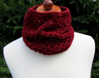 Maroon Infinity Scarf , Lace Design, Maroon Color, Lace Maroon Scarf, Maroon Cowl Scarf, Soft Openwork snood, gift for her