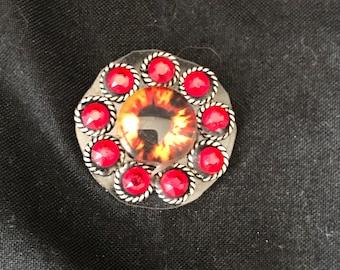 Red Third-Eye Bindi in Tibetan Silver