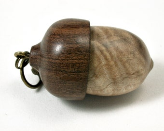 LV-1723 Port Orford Cedar Burl & Brown Ebony Acorn Key Fob, Pill Holder, Cash Stash-SCREW CAP