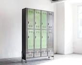 Custom Vertical Locker and Basket Storage Unit, Refinished, Free U.S. Shipping