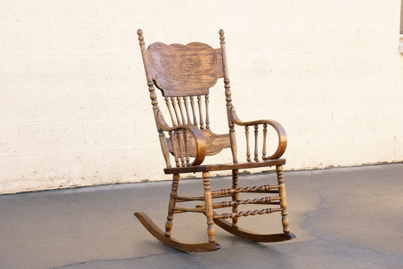Terrific Vintage Oak Rocking Chair With Pressed Back Design Free U S Shipping Machost Co Dining Chair Design Ideas Machostcouk