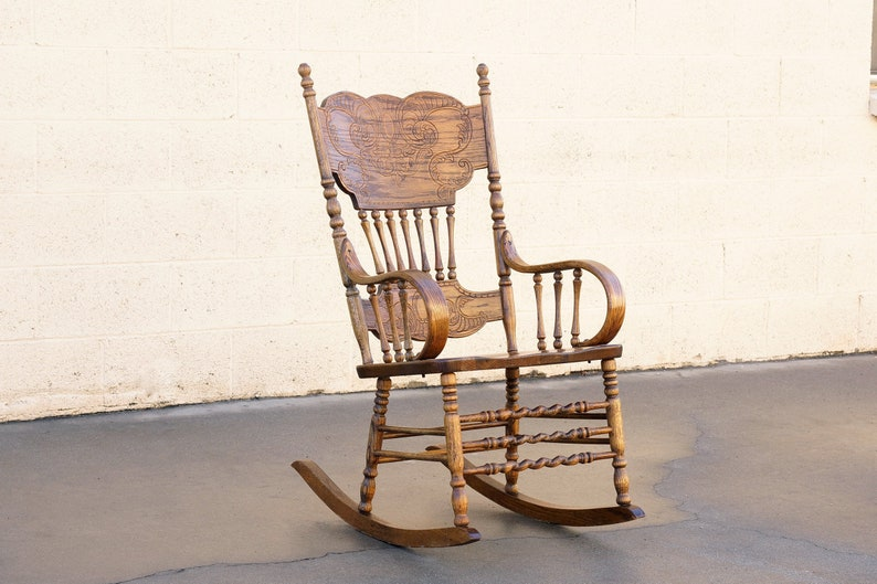 Vintage Oak Rocking Chair With Pressed Back Design, Free U.S. Shipping