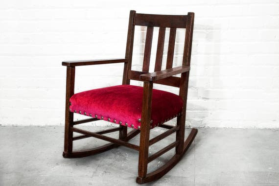 Tremendous Lovely Craftsman Period Rocking Chair C 1915 Upholstered In Red Velvet Free U S Shipping Ibusinesslaw Wood Chair Design Ideas Ibusinesslaworg