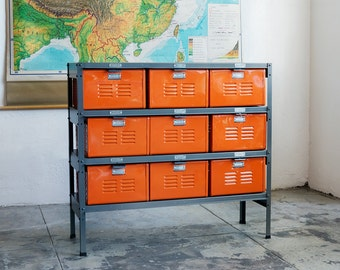 3 x 3 Reclaimed Locker Basket Unit with Tangerine Finish Drawers and Natural Steel Frame, Free U.S. Shipping