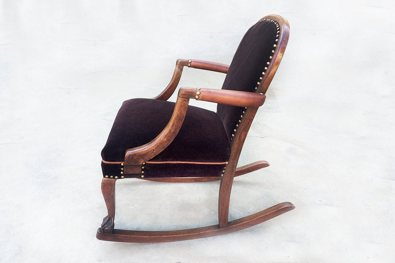 American Empire Style Rocking Chair In Oak Circa 1890 Etsy
