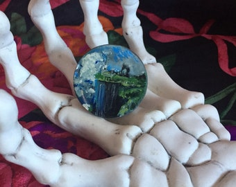Cliffside Castle Painted Ring