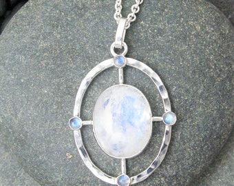 Rainbow Moonstone Compass Pendant, One of a Kind