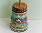 Small Vintage Hand Painted Wood Churn Decorative Butter Churn