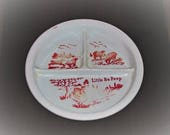 Vintage Milk Glass quot Little Bo Peep quot Child 39 s Divided Plate Bowl Red Lettering and Graphics