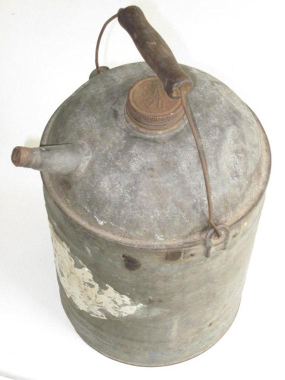 Vintage Galvanized Metal Fence Top Finial Fence Post: Vintage Galvanized Metal Gas Kerosene Can