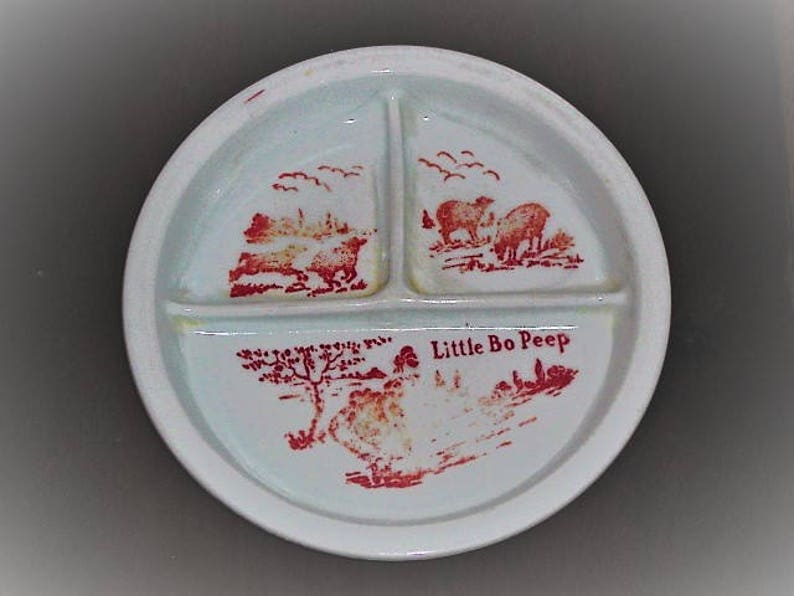 Vintage Milk Glass Little Bo Peep Child/'s Divided Plate Bowl Red Lettering and Graphics