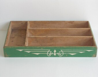 Vintage Green Wood Utensil Drawer Cutlery Tray Divided Storage Box Caddy
