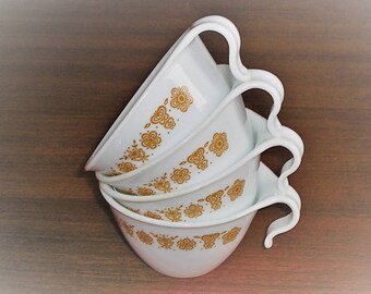 4 Corning Corelle Butterfly Gold Tea Coffee Cups with Hook Handle