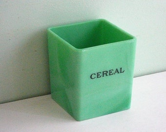 Vintage Jadeite CEREAL Canister by Jeannette Glass Co.