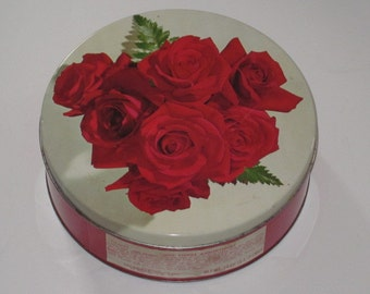 Vintage Round Red Roses Cookie Tin