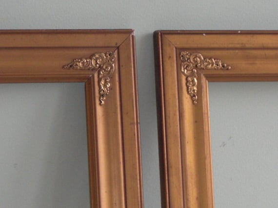 Pair Vintage Gold Tone Wood Frames With Decorative Metal Etsy