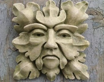 Mossy Green Man, gothic revival, small sculpted art, detailed applique, architectural ornament