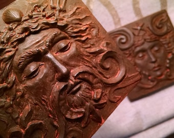 Weathered Iron Finish Sea god tile, 4x4 inch square, Man's face with swirls and trident. grand old theater decor, by R. Chalifour