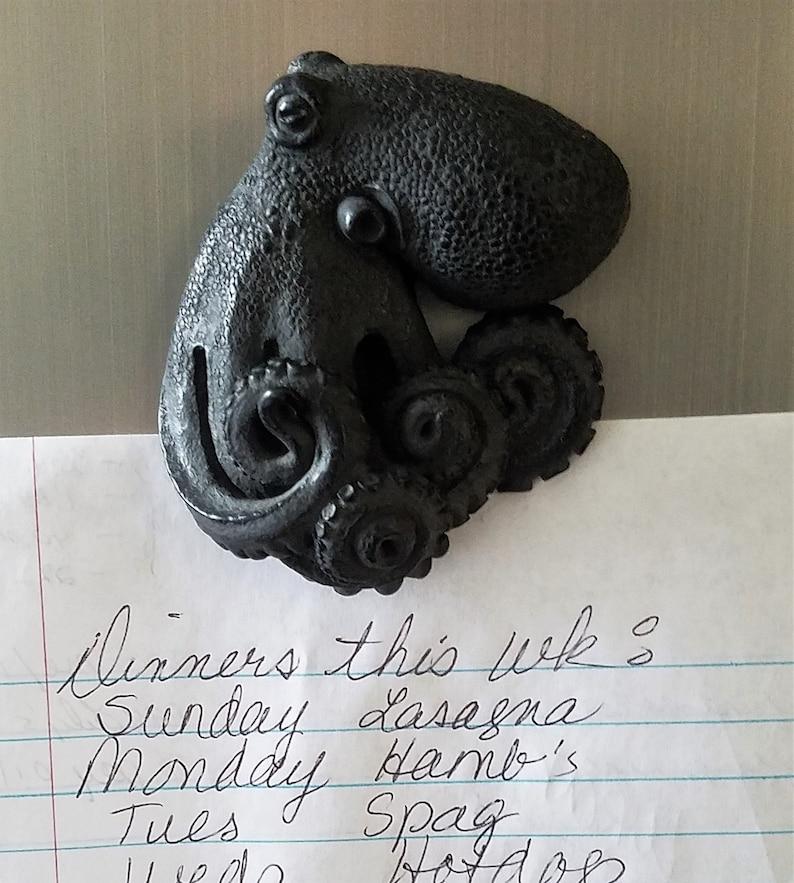 Sculpture by Richard Chalifour Black Octopus cephalopod refrigerator art magnet