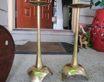 Pair of Mid -Century Candle Holders