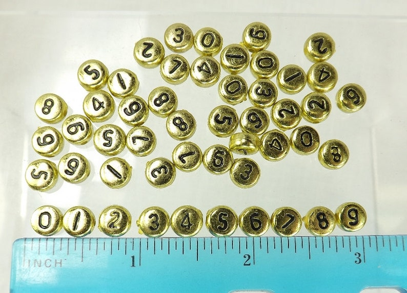Number Beads Gold Flat Round Black Numbers 50 pieces 7x4mm Side Drill jewelry supply spacer bead