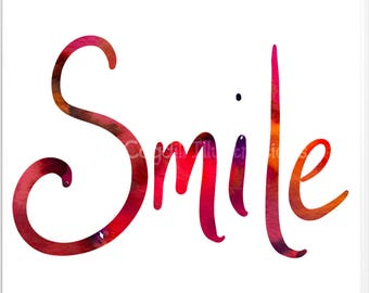 Smile Art Print - Subtractive Lettering