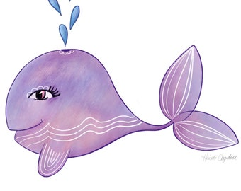 Purple Whale - Art Print