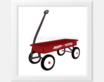 Vintage Red Wagon Art Print