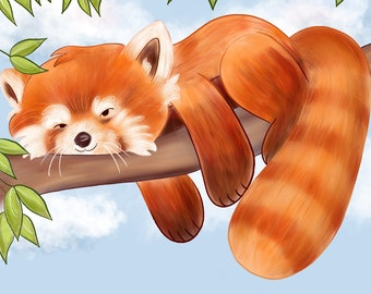 Lazy Red Panda - Art Print 8x8