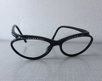 b9bc732e274 1950 s black plastic and rhinestone eyeglass frames by Reybert  France